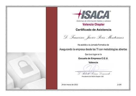 Diploma ISACA Valencia Jornada 24 de marzo de 2011