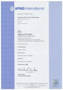 Javier Peris esta Acreditado como Formador Oficial de ITIL para todos los Niveles del Ciclo de Vida del Servicio por APMG y AXELOS y puede impartir Cursos Oficiales de Certificación