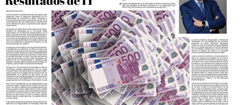 """""""La Cuenta de Resultados de IT"""" artículo de Javier Peris en la Revista Tecnología y Sentido Común #TYSC de octubre de 2020"""